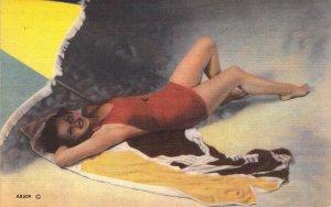 Beautiful Linen Era Pin Up, Girl at the Beach, Old Postcard