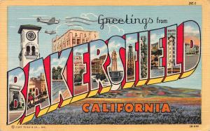 Greetings From Bakersfield, California, Early Linen Postcard, Used