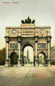 Munchen Siegestor Gate Statues Postcard