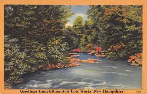 Gilmanton Iron Works New Hampshire Scenic Waterfront Antique Postcard K86038