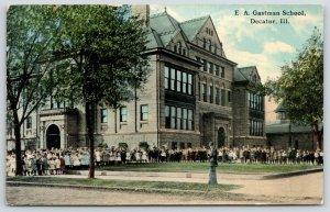 Decatur Illinois~EA Gastman School~Children Outside for Picture~1912 Postcard