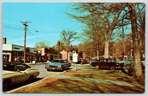 New Milford Connecticut~Shops on Main Street~Late Autumn~Mailbox? on Post~1960s