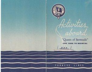 FURNESS Lines, Queen of Bermuda, Program of Events, 1940-60s