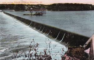 MARSEILLES, Illinois, PU-1910; Dam Across Illinois River