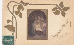 CHRISTMAS : Art Nouveau style , manger view , PU-1900
