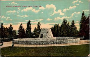 York Pennsylvania~Penn Park Electric Fountain~Wrought Iron Fence~1912 Postcard