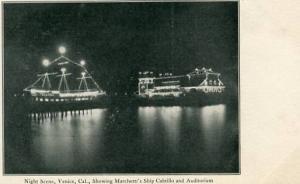 CA - Venice, Night Scene, Marchetti's Ship Cabrillo & Auditorium