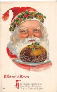 B7/ Santa Claus Postcard Merry Christmas Holiday c1910 Bread Holly Hat 158 #3