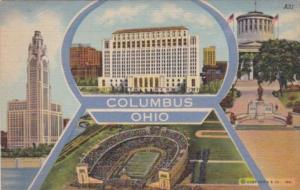 Ohio Greetings From Columbus Showing State Office Building McKinley Memorial ...