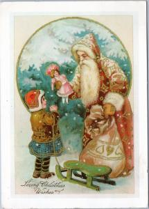 Santa giving doll to girl - Loving Christmas Wishes - Reproduction card 1976