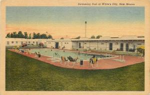 Whites City NM Lawn Chairs Around Swimming Pool~Diving Board~1956 Postcard pc
