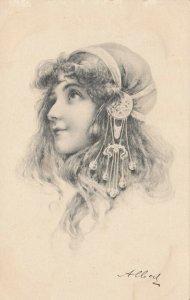 M.M.VIENNE : Woman in Art Nouveau Headdress Portrait #1 , 1901-07
