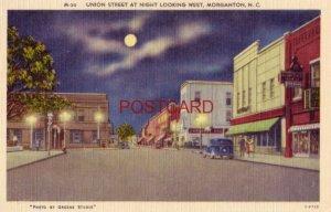 UNION STREET AT NIGHT LOOKING WEST, MORGANTON, N.C.