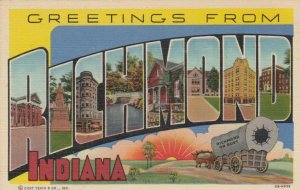 Large Letter Greetings, RICHMOND, Indiana, 1930-40s