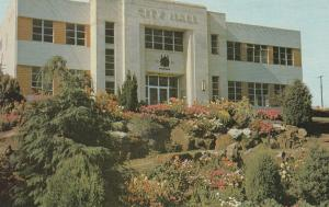 NANAIMO, British Columbia, Canada, 1950-60s; City Hall and it's charming rock...