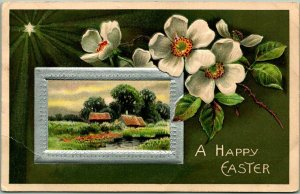 1909 A HAPPY EASTER Greetings Embossed Postcard Country Scene / White Flowers