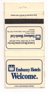 Matchbook Cover ! Embassy Hotelss, Staffordshire, England !