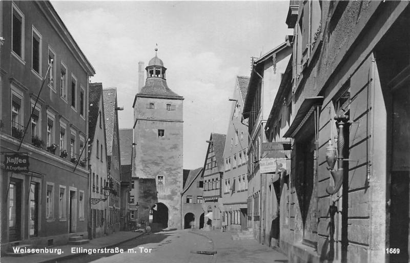 Weissenburg in Bayern Germany~Street Scene~Storefronts~Middle Franconia~RPPC