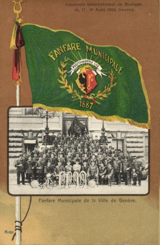 switzerland, GENEVE, Municipal City Music Band, Fanfare Flag (1902) Postcard