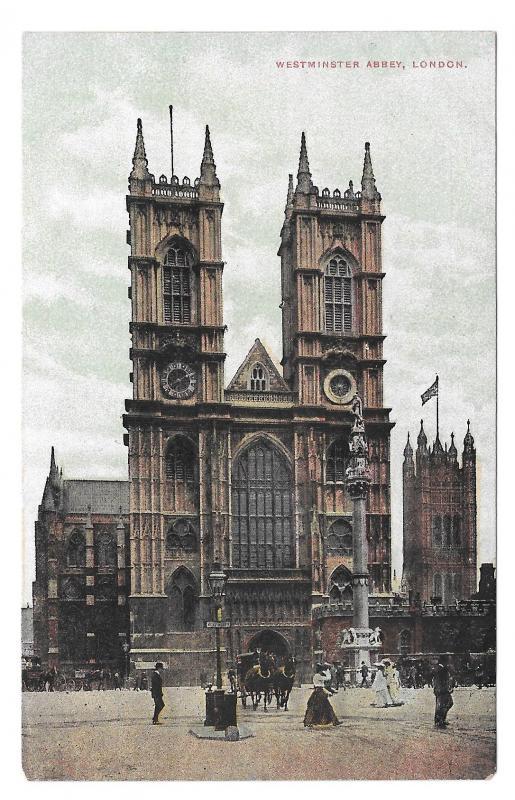 UK London Westminster Abbey Church Postcard Vintage