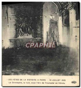 Postcard Old Army Fetes victory July 14, 1919 The cenotaphe night under the &...