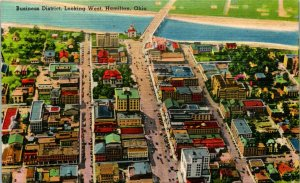 Hamilton OH Business District Looking West Postcard unused (23915)