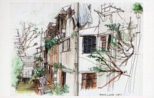 Wing Lee Street Sheung Wan Hong Kong Sketch Painting Postcard