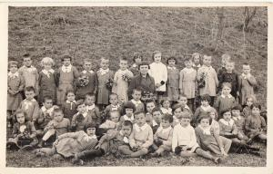 Romania school social history teacher children uniforms photo postcard