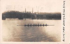 Philadelphia Pennsylvania Schyulkill River Rowers Real Photo Postcard J49994