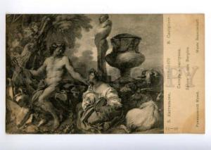 170960 FAUN Pan SATYR shepherdess by CASTIGLIONE old Red Cross