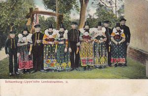 Men & Woman Wearing Typical Costumes, Lippe'sche Landestrachten, Schaumburg (...