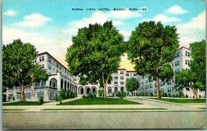 1940s Biloxi, Mississippi Postcard BUENA VISTA HOTEL Street View KROPP Linen