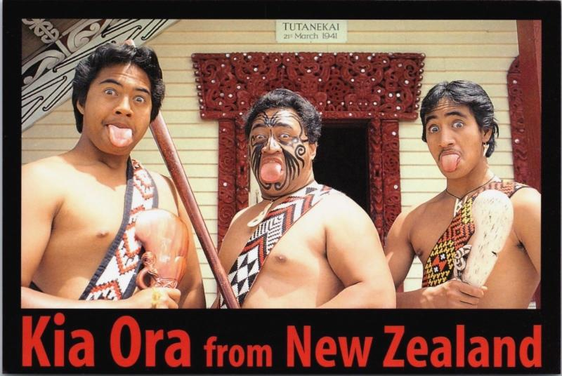 Kia Ora from New Zealand NZ Maori Warriors Haka Unused Vintage Postcard D34