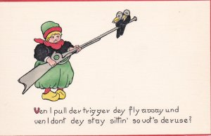 TUCK Dutch Proverbs # 2943; 1900-10s; Dutch Girl with long shotgun