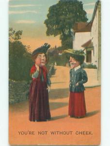 Unused Bamforth comic NOT WITHOUT CHEEK - WOMAN WITH BIG CHEEKS k8046