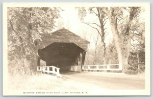 West Ossipee NH~Closeup of Whittier Covered Bridge~Bear Camp Waters~RPPC c1910
