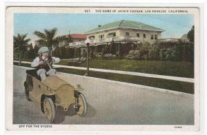 Child's Pedal Car Jackie Coogan Actor Home Los Angeles California 1920s postcard