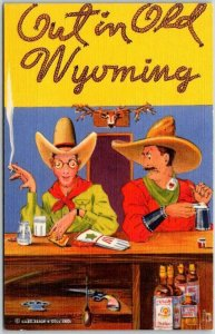 Vintage WYOMING Comic Linen Postcard Out in Old Wyoming Gay Interest c1940s