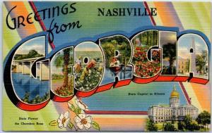 Nashville GEORGIA Large Letter Postcard w/ State Capitol & Flower Tichnor Linen