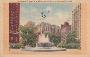 Michigan Detroit Grand Circus Park With Edison Memorial Fountain 1945