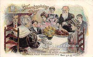 Thanksgiving Old Vintage Antique Postcard Post Card Artist Fred  Lounsbury 1907