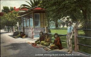 Yuma AZ Native Indians Selling Bead Work Along Road c1910 Postcard