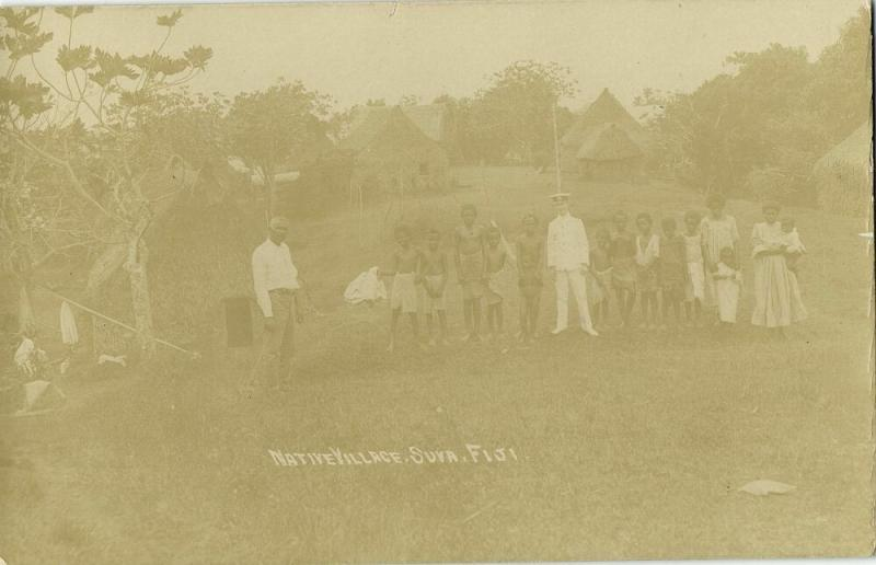 fiji islands, SUVA, Native Village (1910s) RPPC Postcard