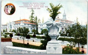 1909 AYPE Seattle Postcard Hawaii & Oriental Foreign Exhibit Bldg w/ Cancel