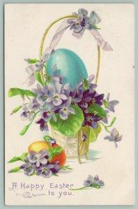 Easter~Gold Handled Pot~Purple Lavender Violets~Blue Yellow Eggs~Ribbon~TUCK~Emb