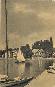 Postcard Hungary Balaton lake sail ship