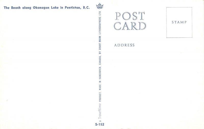 Penticton British Columbia~Okanagan Lake Beach~Kids~Boats~Surf~1950s Postcard