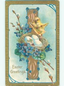 Divided-Back EASTER CHICK SCENE Cute Postcard AA0951