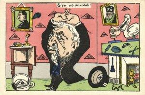 PC CPA FREEMASONRY, CARICATURE, L'EN AS UN OEIL, Vintage Postcard (b14428)