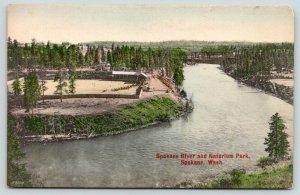 Spokane Washington~Spokane River & Natatorium Park Birdseye View~c1910 Postcard